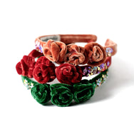 Velvet headbands with rose bud and sequin embellishment in green , copper and red.