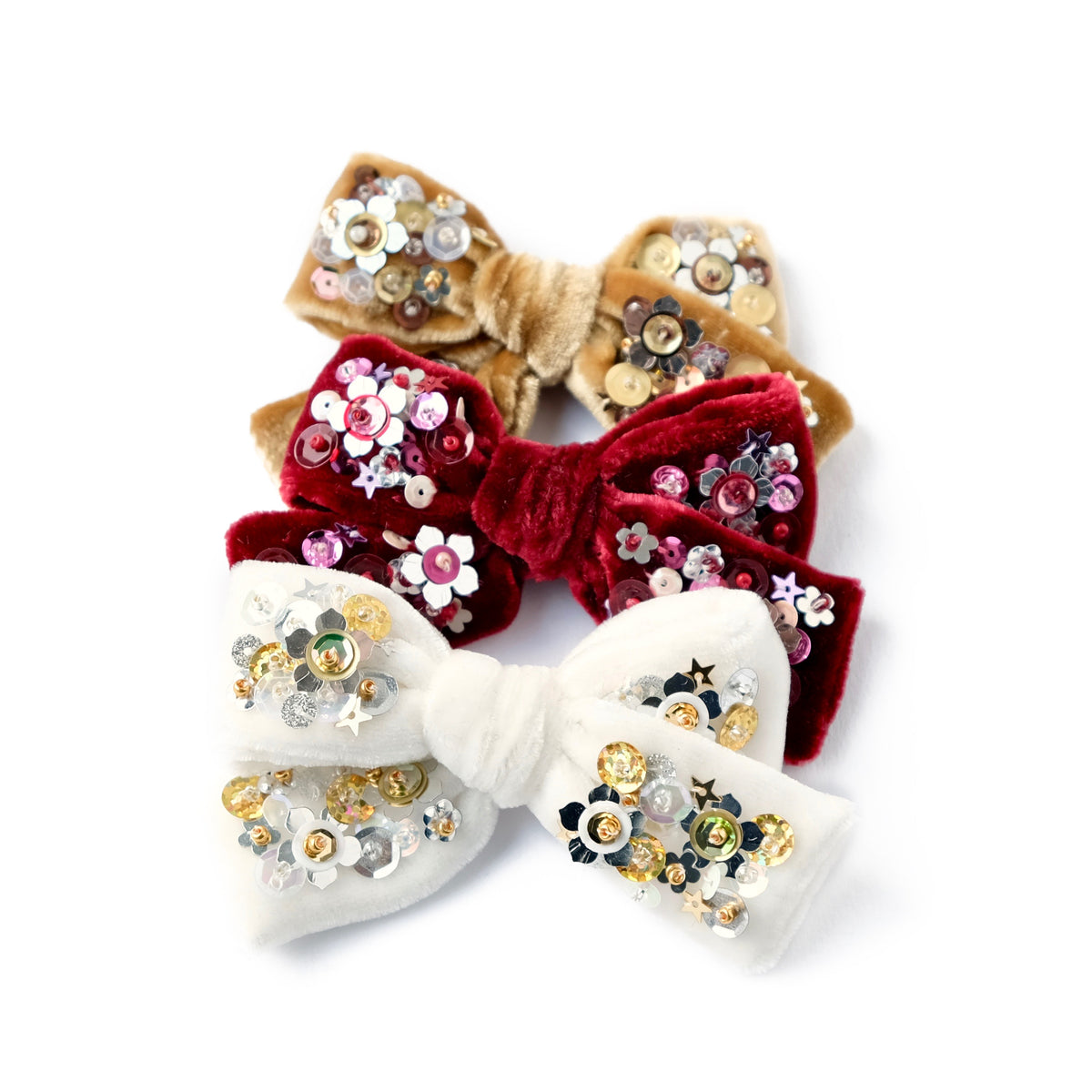 winter collection of velvet hair bows