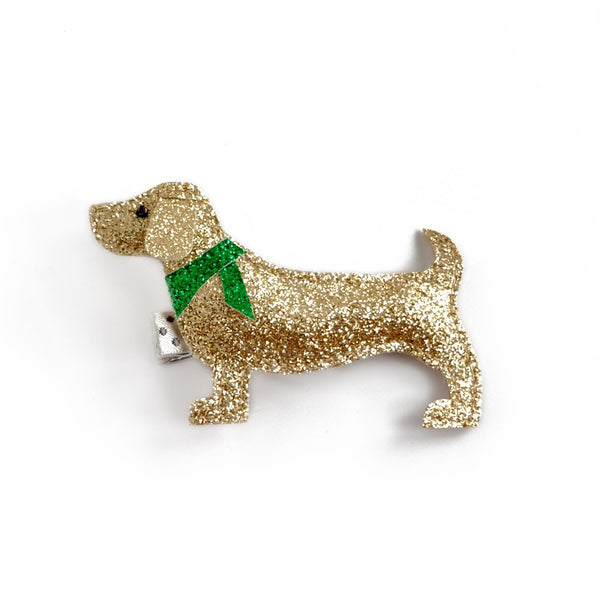 dog hair clip with green scarf