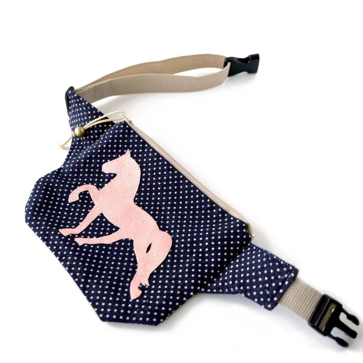 fanny pack blue polka dot with open belt