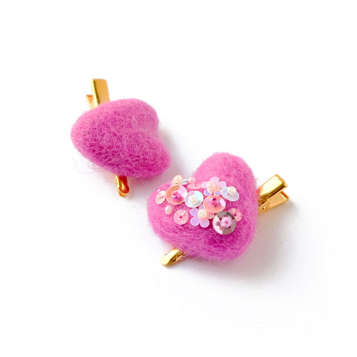 felt heart hair clips pink