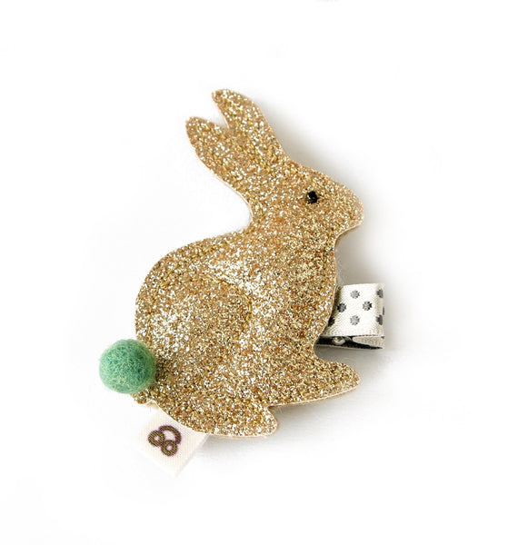 gold bunny with green tail hair clip