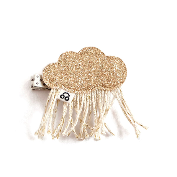 Rain cloud hair clip in gold.