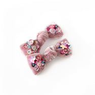 Hair bow with sequin, pigtail set, in blush colored velvet.
