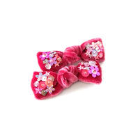 Hair bow with sequin, pigtail set, in carmine red colored velvet.
