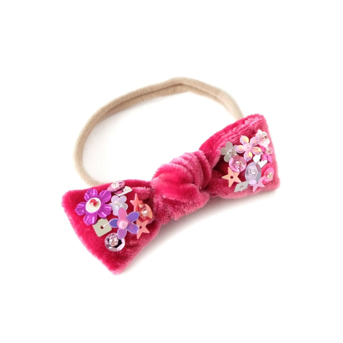Baby headband in carmine red embellished with sequin.