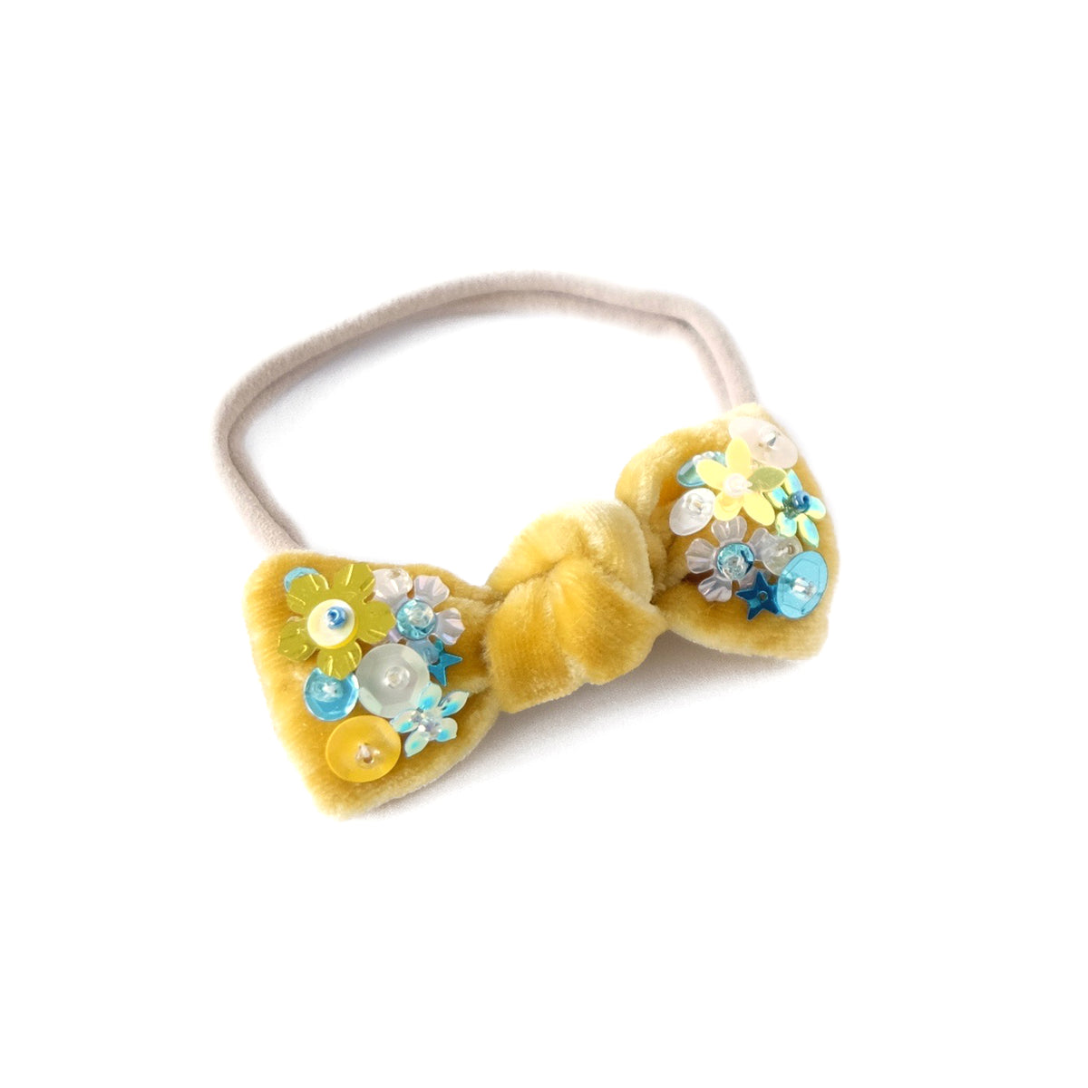 Hair bow with sequin, baby headband, in honey yellow colored velvet.
