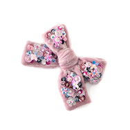 Hair bow with sequin, medium size, in blush colored velvet.