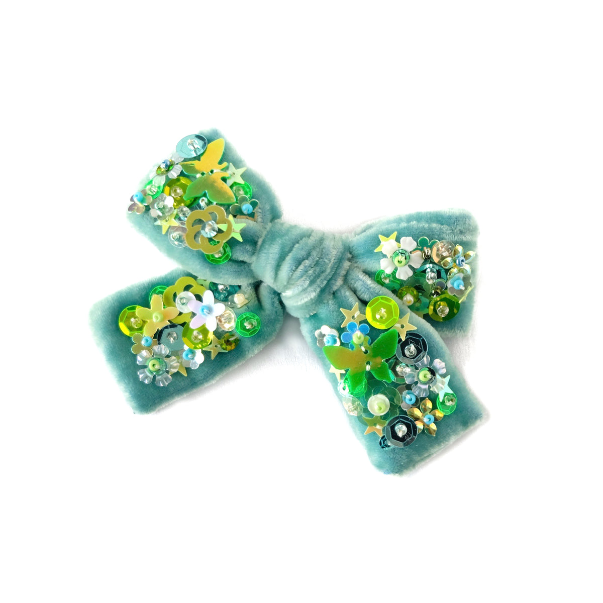 Velvet hair bow with sequin, medium size, in titan green color.