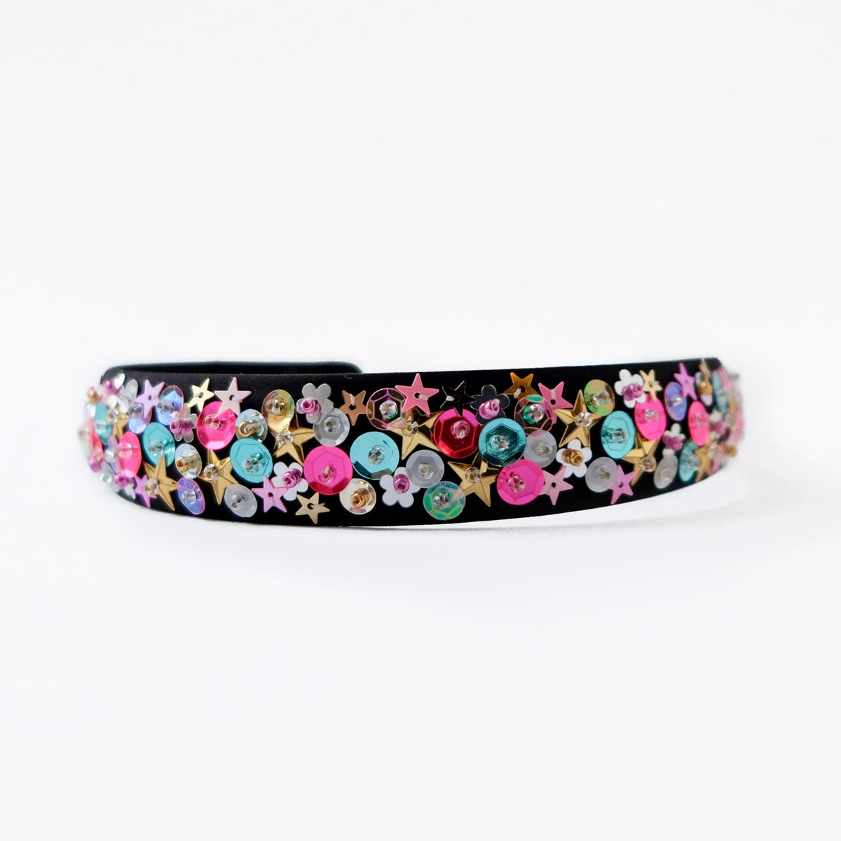 black satin headband with sequin