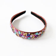 satin headband with sequin in copper tone