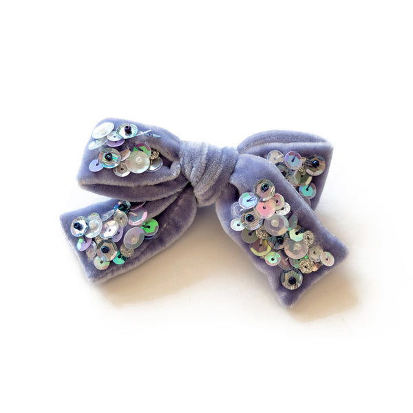 lavender waves velvet hair bow with sequin