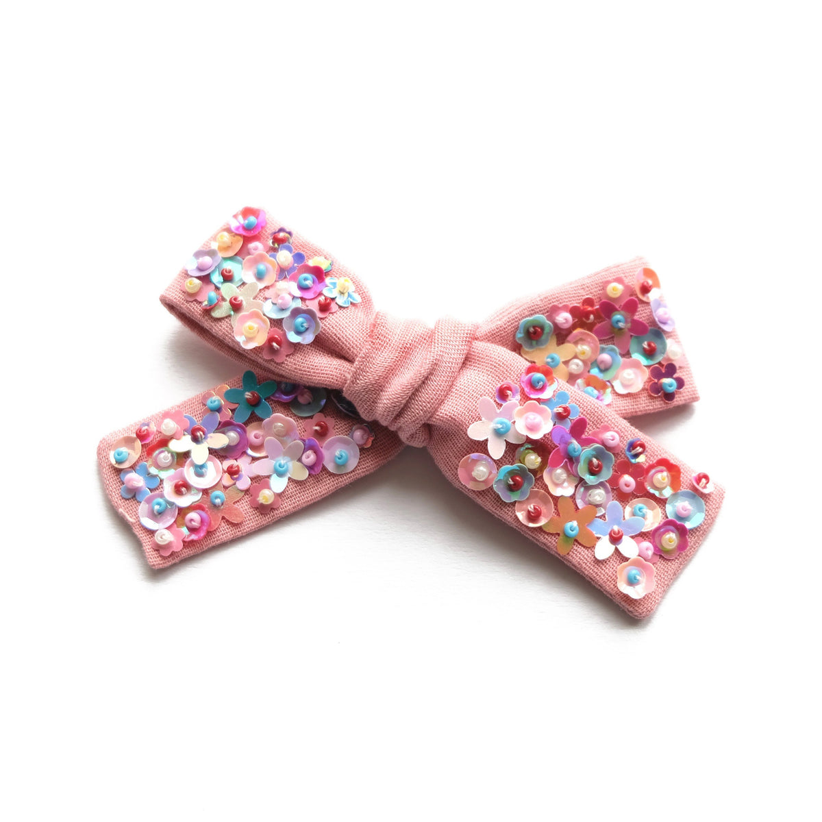 Rose meadow hair bow with sequin.