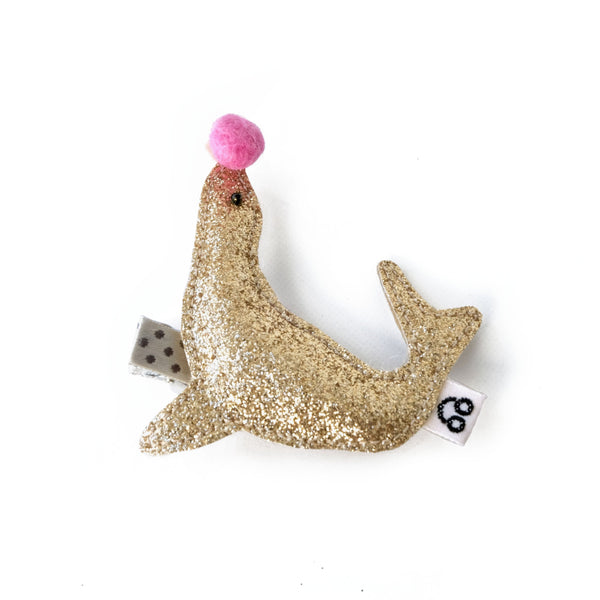 sea lion with pink ball hair clip