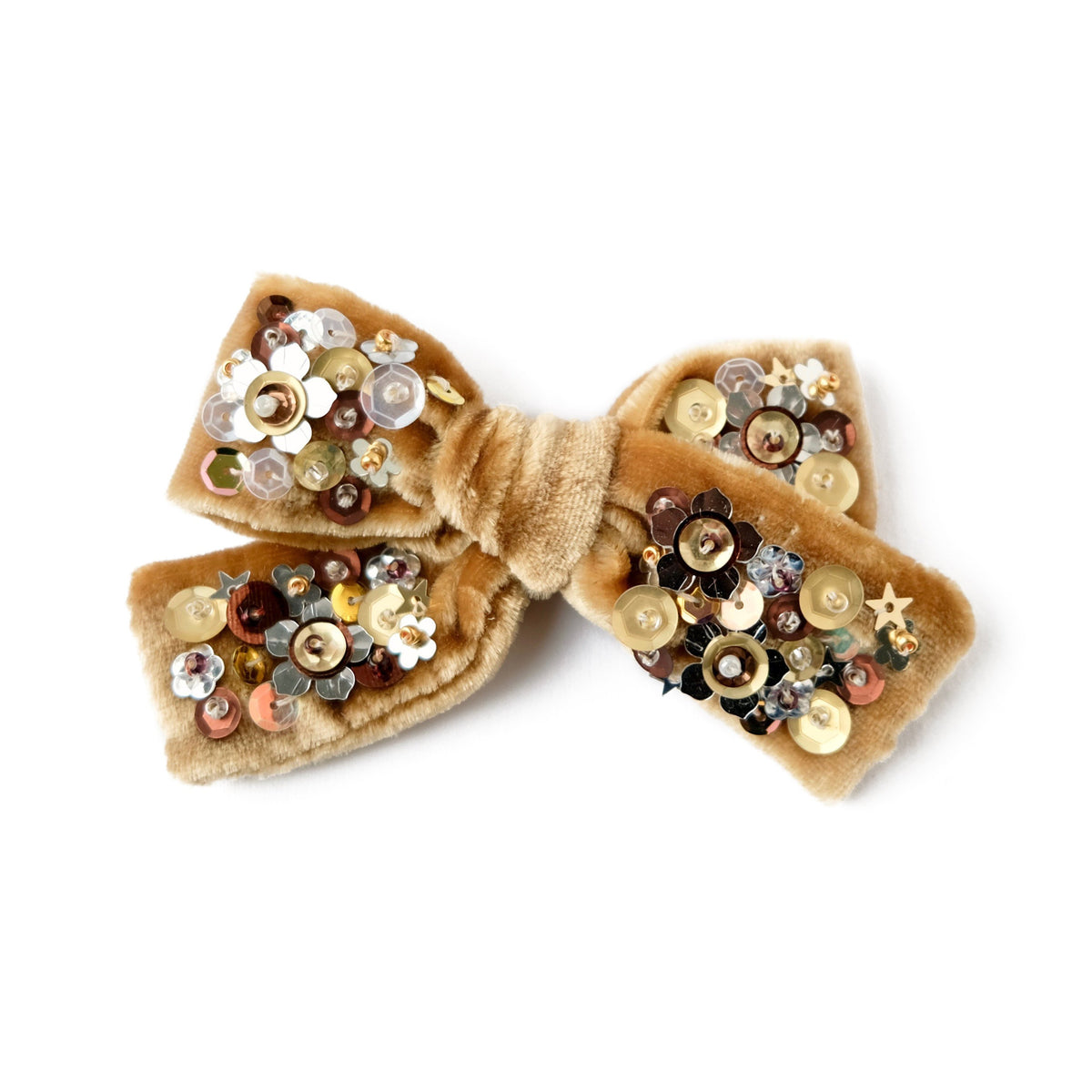 velvet hair bow with sequin in beige gold color