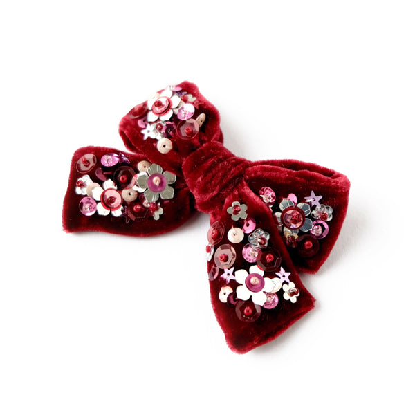 velvet hair bow with sequin in dark red