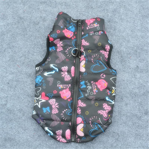 Colorful Warm Winter Jacket For Small Dogs And Puppies black / L