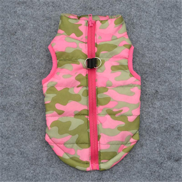 Colorful Warm Winter Jacket For Small Dogs And Puppies Pink Camouflage / L
