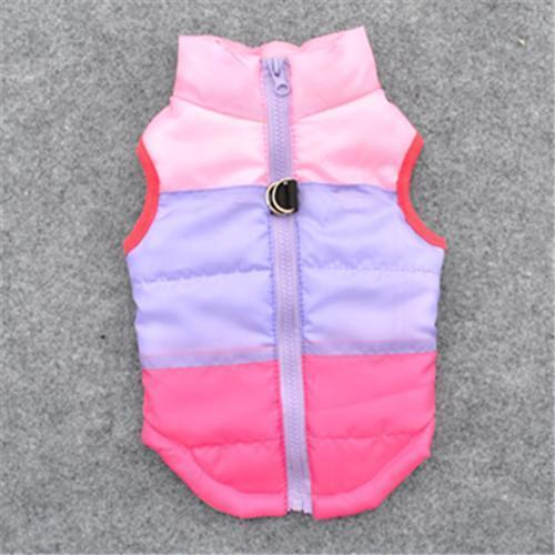 Colorful Warm Winter Jacket For Small Dogs And Puppies pink purple rose / L