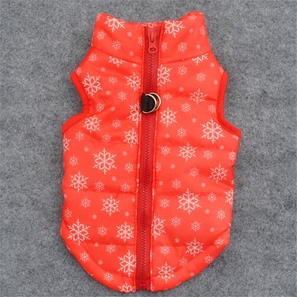 Colorful Warm Winter Jacket For Small Dogs And Puppies Red Snow / L