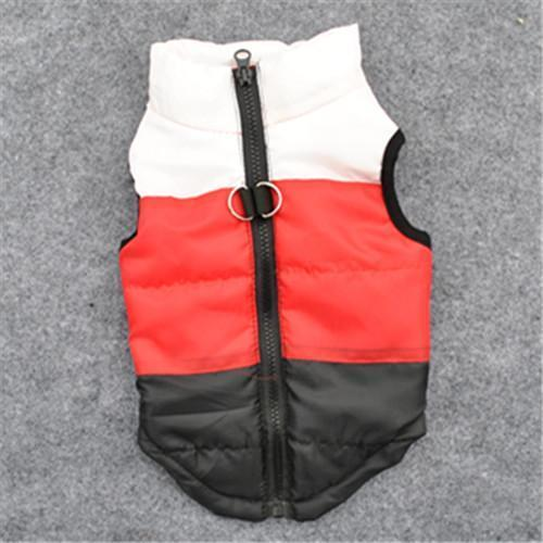 Colorful Warm Winter Jacket For Small Dogs And Puppies white red black / L