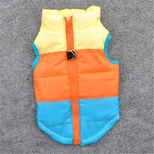 Colorful Warm Winter Jacket For Small Dogs And Puppies yellow orange blue / L