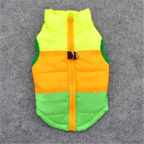Colorful Warm Winter Jacket For Small Dogs And Puppies yellow orange green / L