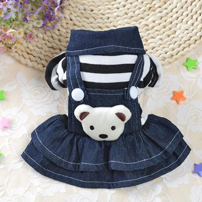 Cute Bear Jumpsuit and Dress Dog Clothes For Small Dogs And Puppies Black Dress / L