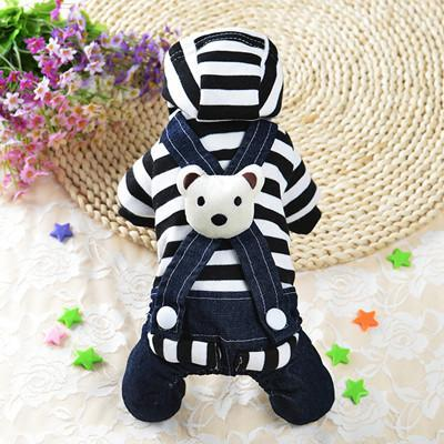 Cute Bear Jumpsuit and Dress Dog Clothes For Small Dogs And Puppies Black Jumpsuit / L