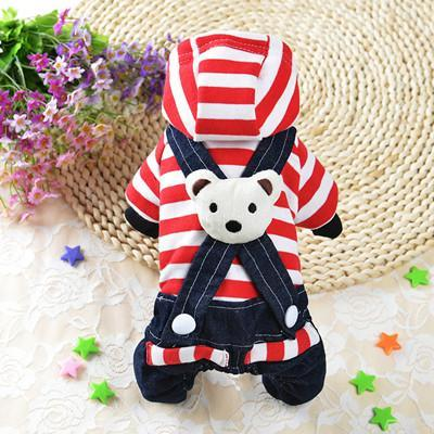 Cute Bear Jumpsuit and Dress Dog Clothes For Small Dogs And Puppies Red Jumpsuit / L