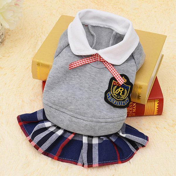Cute School Style Dog Costume Suit and Dress For For Small Dogs And Puppies Grey Dress / L