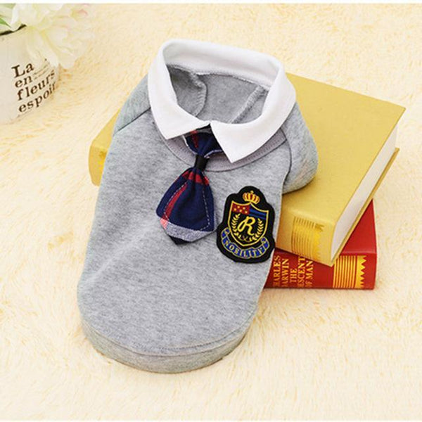 Cute School Style Dog Costume Suit and Dress For For Small Dogs And Puppies Grey Suit / L