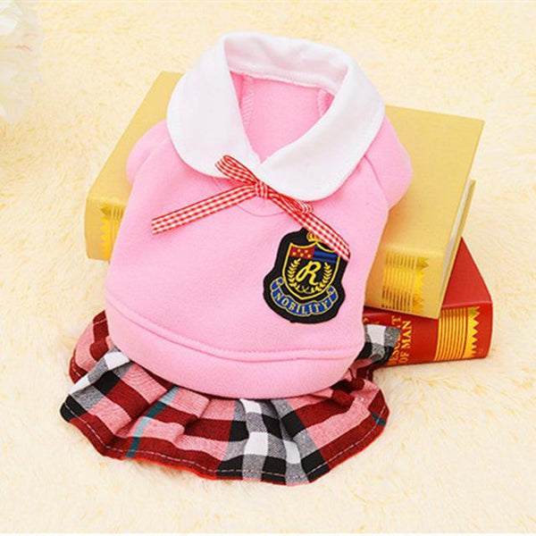 Cute School Style Dog Costume Suit and Dress For For Small Dogs And Puppies Pink Dress / L