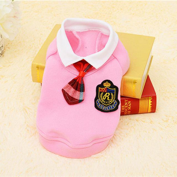 Cute School Style Dog Costume Suit and Dress For For Small Dogs And Puppies Pink Suit / L