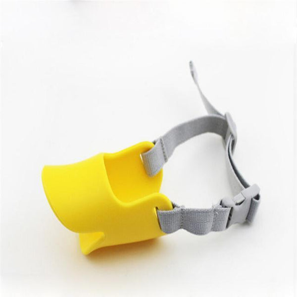 Cute Silicone Duck Mouth Anti-bite and Bark Dog Muzzle Yellow / L