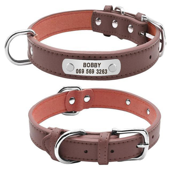 Free Engraving Leather Personalized Dog Collars For Medium and Large Dogs Brown / L