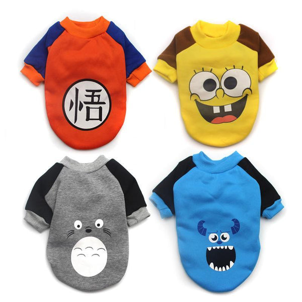 Goku, Spongebob, Totoro, Sullivan Cartoon Coat Dog Costume Clothes for Small Dogs and Puppy