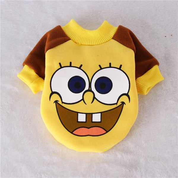 Goku, Spongebob, Totoro, Sullivan Cartoon Coat Dog Costume Clothes for Small Dogs and Puppy Yellow Dog / L