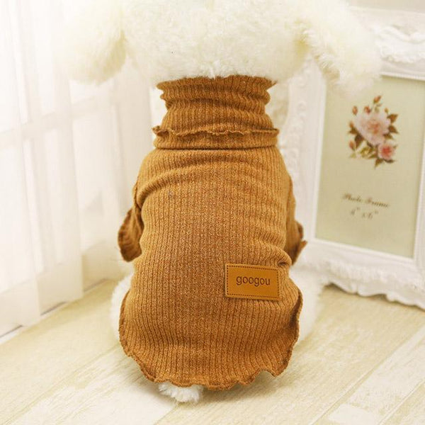 Googou Dog Clothes Warm Outfit For Small Dogs and Puppies Brown / L