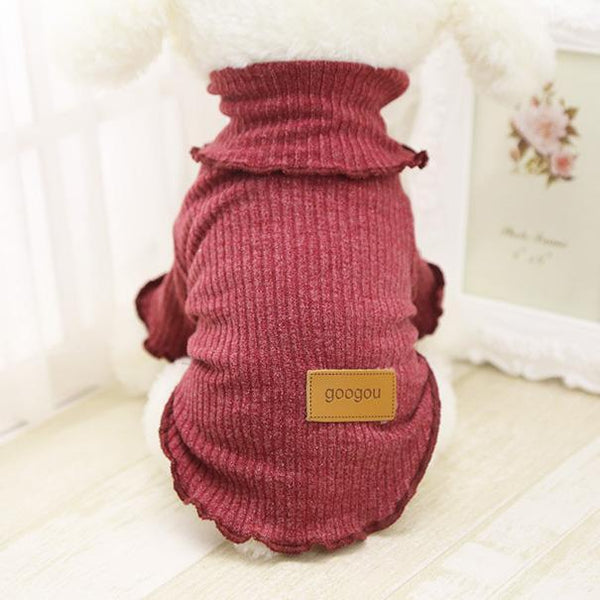 Googou Dog Clothes Warm Outfit For Small Dogs and Puppies Dark Red / L