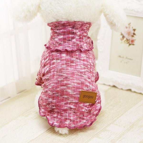 Googou Dog Clothes Warm Outfit For Small Dogs and Puppies Pink Stripe / L