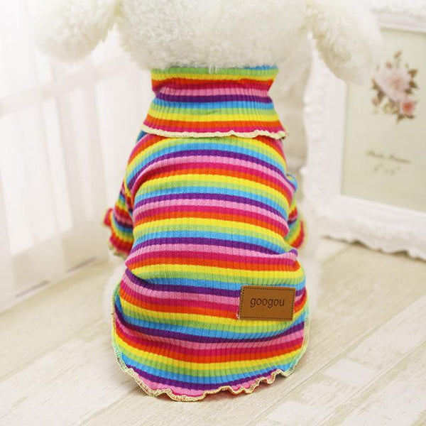 Googou Dog Clothes Warm Outfit For Small Dogs and Puppies Rainbow / L