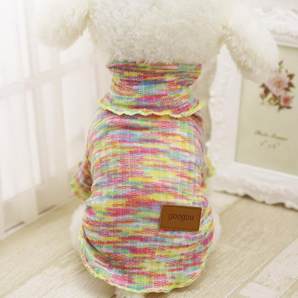 Googou Dog Clothes Warm Outfit For Small Dogs and Puppies Rainbow Stripe / L