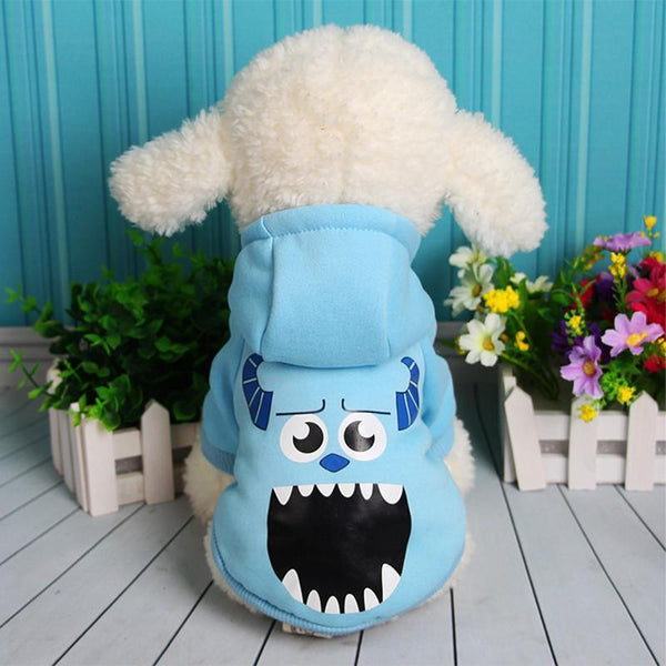 Minions Sulley Dog Hoodie Clothes For Small Dogs And Puppies Blue / L