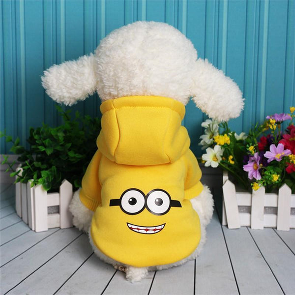 Minions Sulley Dog Hoodie Clothes For Small Dogs And Puppies Yellow / L
