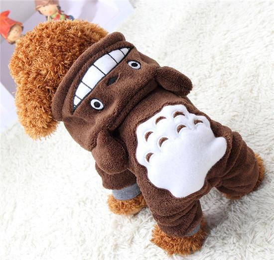 Totoro Dog Hoodie Clothes For Small Dogs And Puppies Brown / L