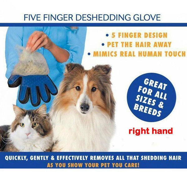 True Touch Five Finger Deshedding Dog Hair Grooming Brush Massage Glove