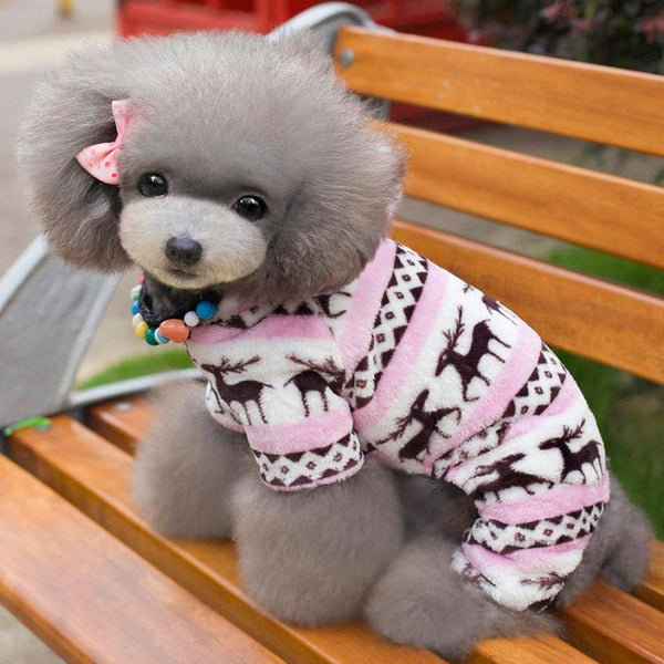 Winter Style Soft Fleece Dog Jumpsuit Outfit