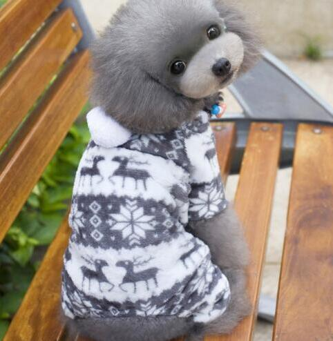 Winter Style Soft Fleece Dog Jumpsuit Outfit Gray / L