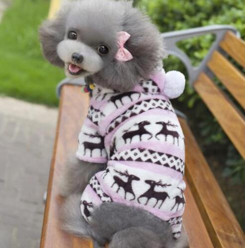 Winter Style Soft Fleece Dog Jumpsuit Outfit Pink / L